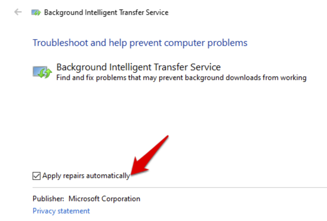 Background Intelligent Transfer Service apply repairs automatically