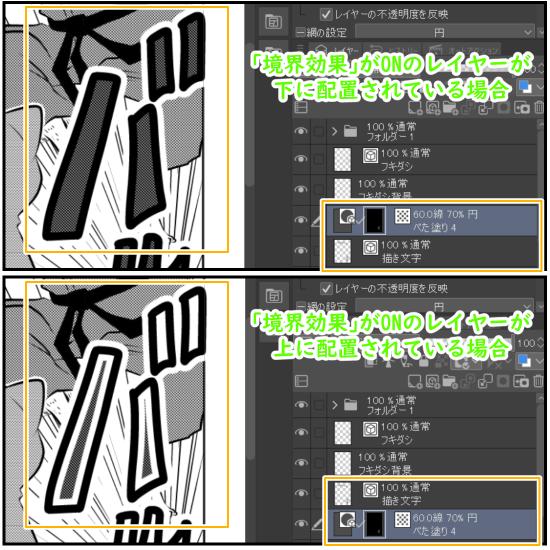 クリスタ:描き文字の境界効果とレイヤー位置