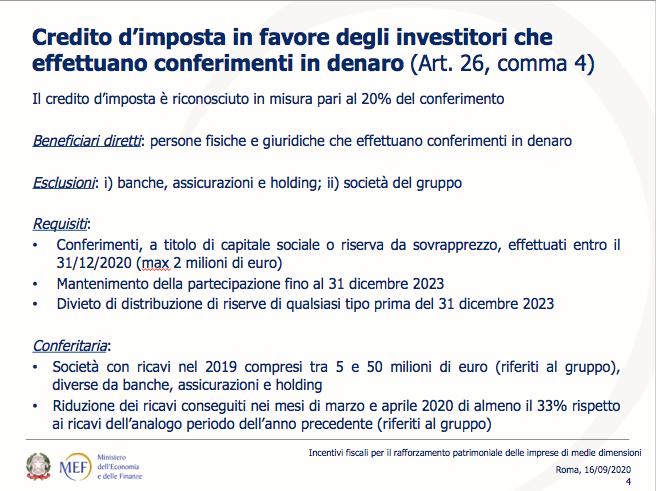 Presentazione del MEF sulle misure per la patrimonializzazione delle PMI