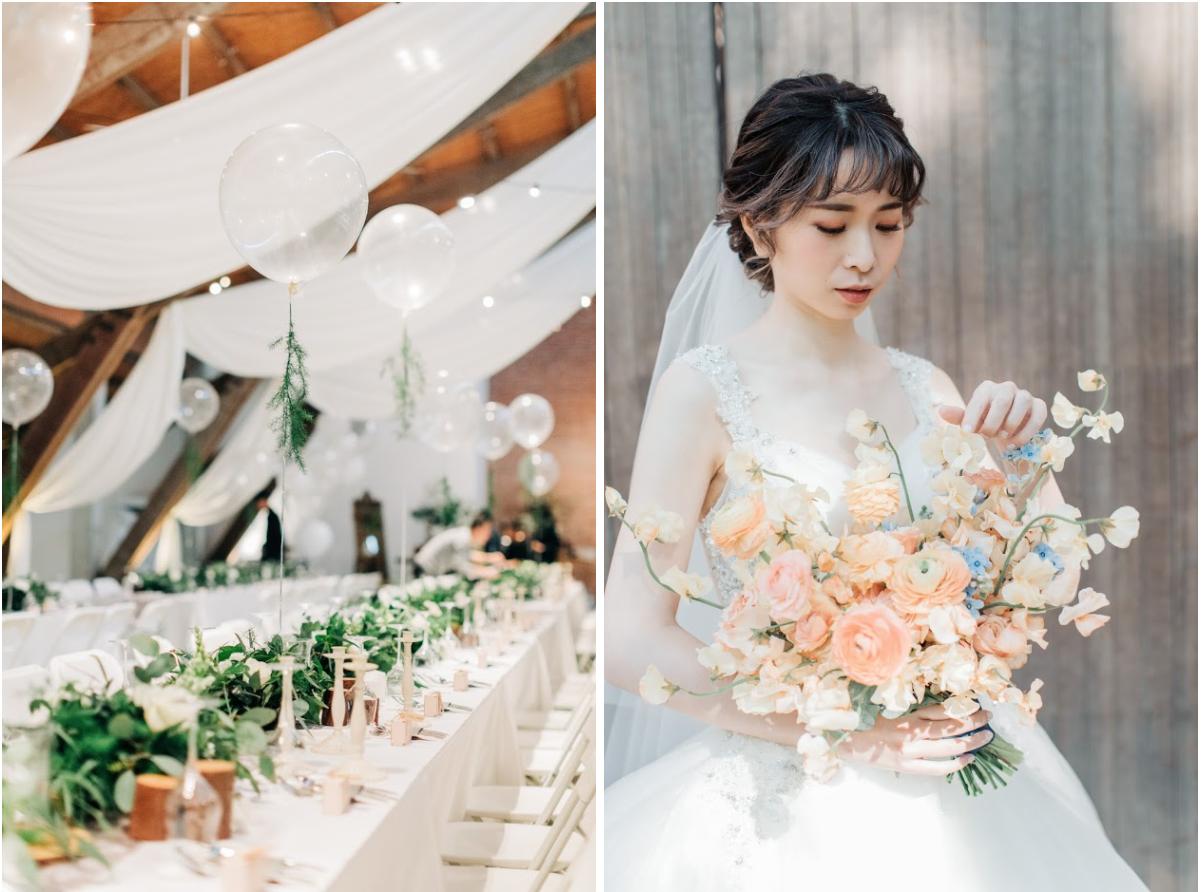 後院花藝的婚禮佈置