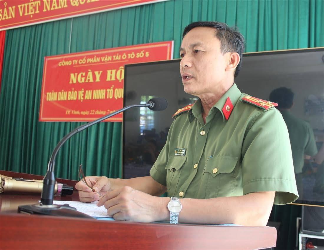 Thượng tá Đậu Khắc Cảnh, Phó trưởng phòng An ninh Kinh tế phát biểu tại Hội nghị