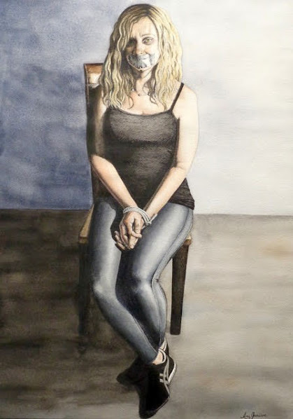 People's Choice Award:  Breaking the Silence Ink & Watercolor by Amy Jamison