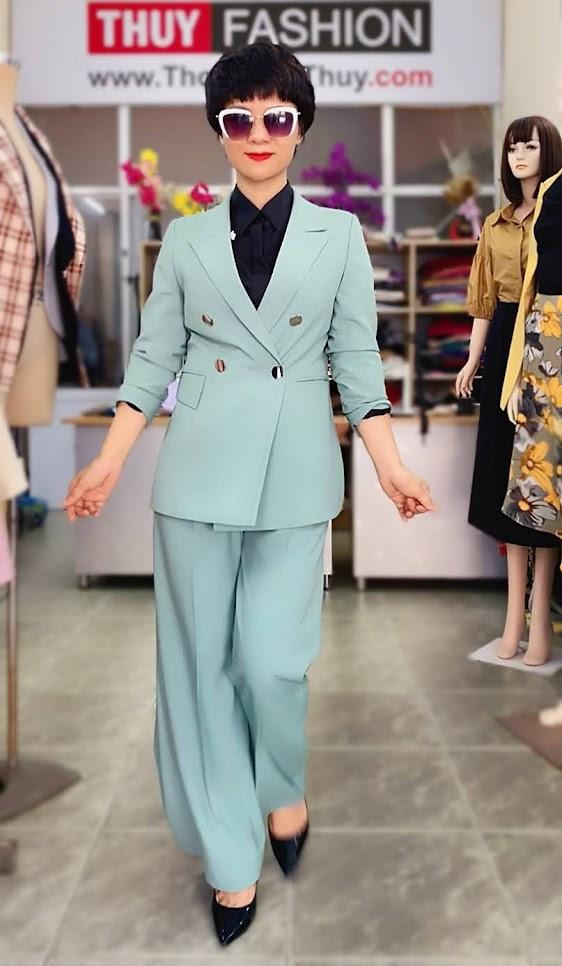 Áo vest nữ mix đồ quần ống suông màu xanh V726 thời trang thủy hải phòng