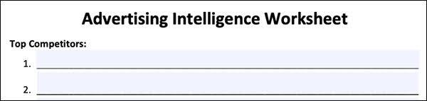 Advertising Intelligence Worksheet
