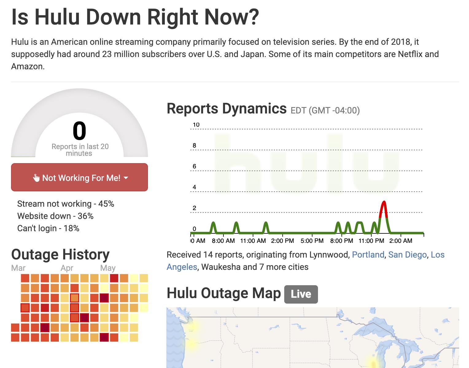 Hulu Outage Report