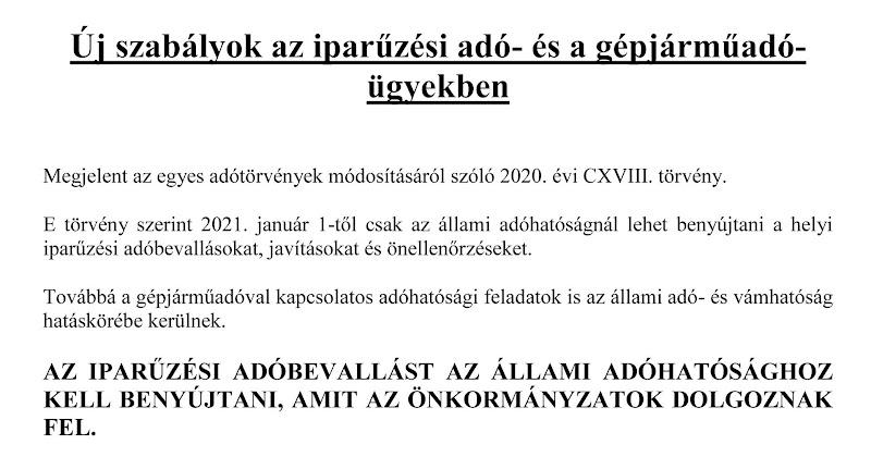 Új adójogszabályok 2021