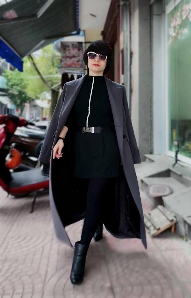 Áo khoác măng tô nữ vải dạ màu ghi xám V750 thời trang thủy hải phòng 1