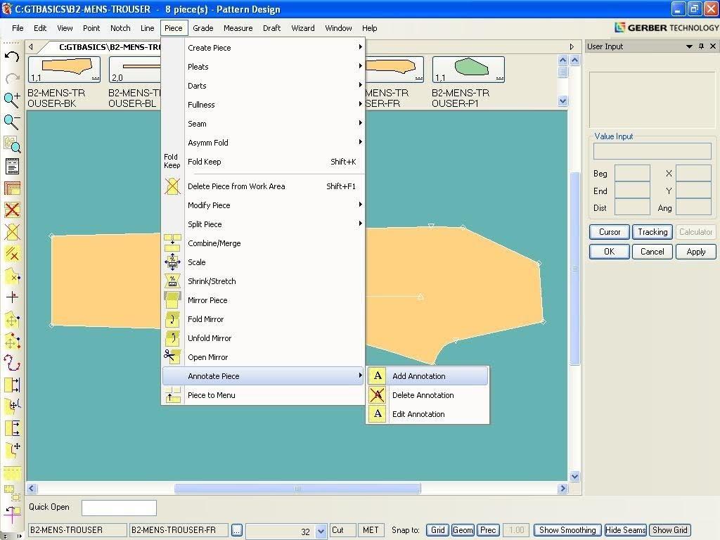 Tạo Ghi Chú Lên Chi Tiết Rập Trong Gerber Pattern Design 1