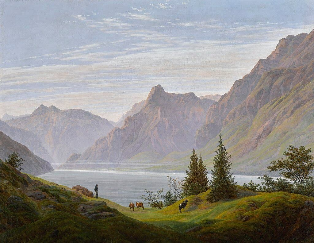 life learnings-Caspar_David_Friedrich_-_Landschaft_mit_Gebirgssee,_Morgen.jpg