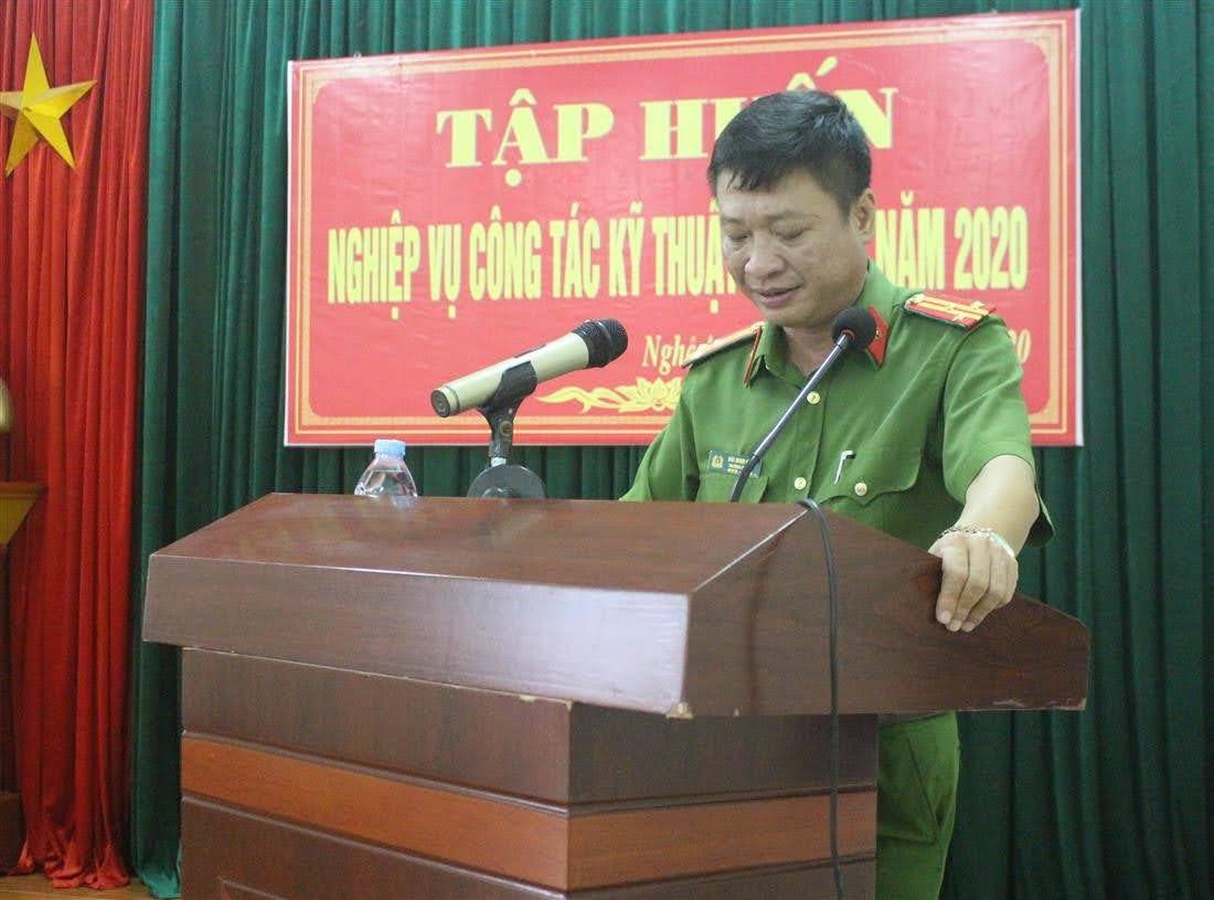 Thượng tá Bùi Minh Hiếu, Trưởng phòng Kỹ thuật hình sự phát biểu tại buổi bế mạc