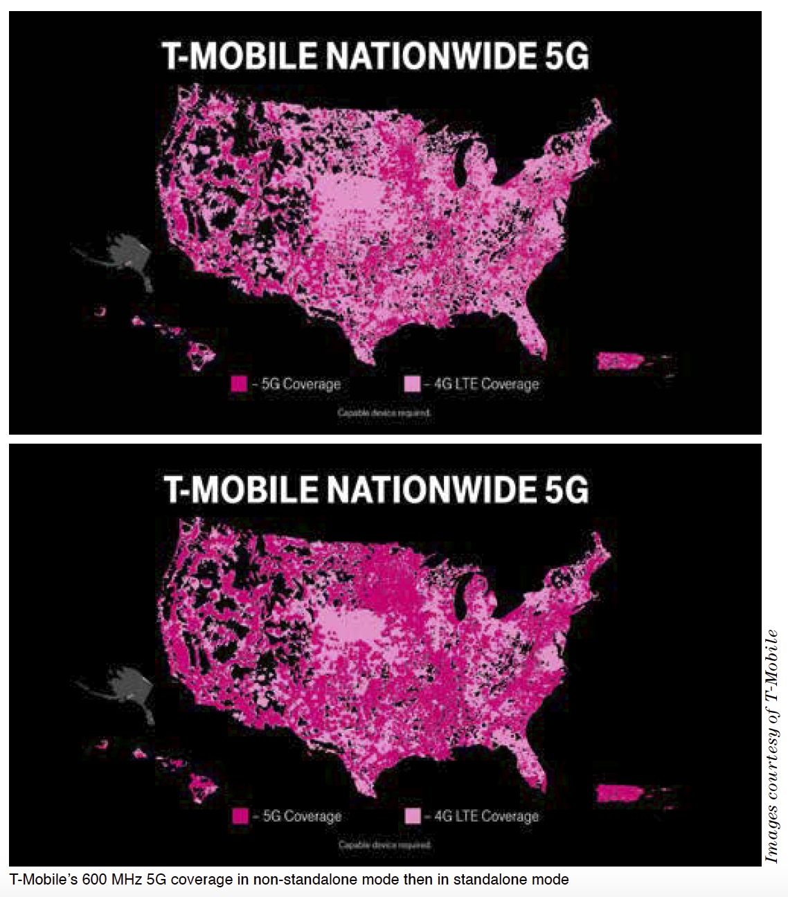 T-Mobile's 600 MHz 5G coverage in non-standalone mode then in standalone mode