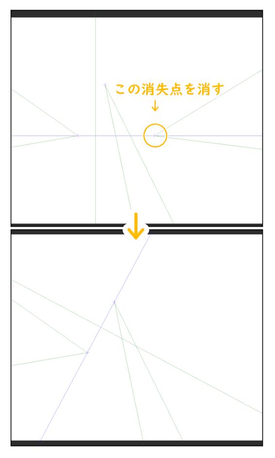 クリスタ:パース定規(消失点を削除)