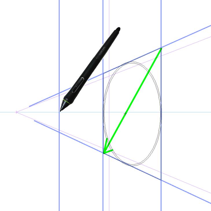 クリスタのパース定規と楕円ツール