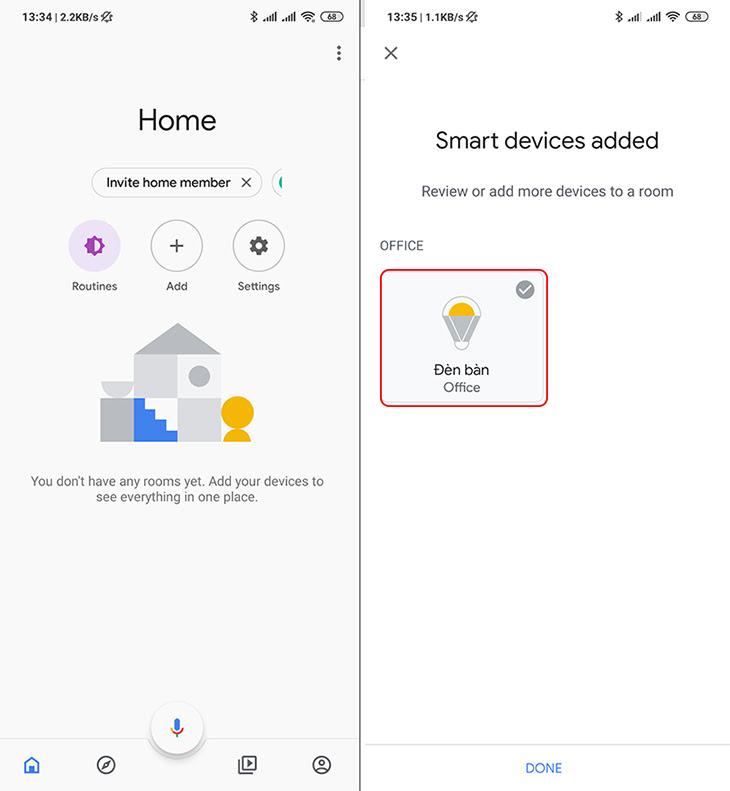 Quay trở lại màn hình chính của app Google Home > Vuốt từ cạnh trên xuống dưới để refresh > Các thiết bị Xiaomi sẽ xuất hiện đầy đủ trong Google.