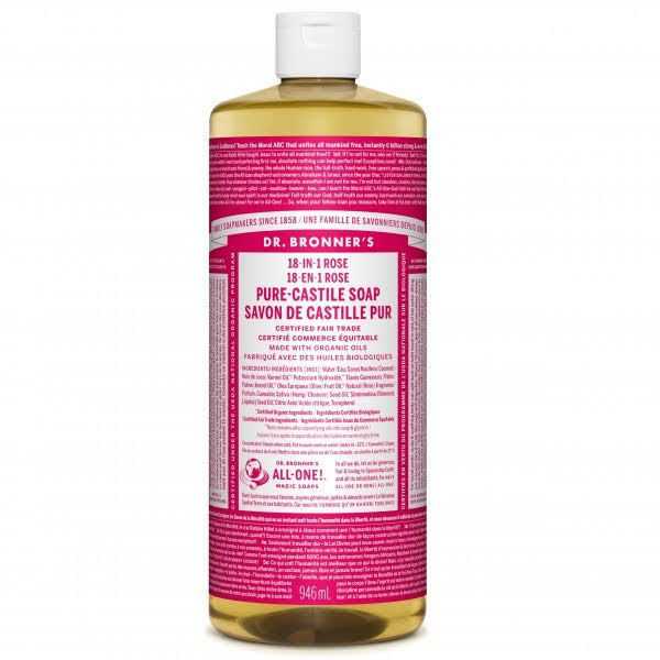 Dr. Bronner's 18-In-1 Pure-Castile Liquid Soap Rose 946mL
