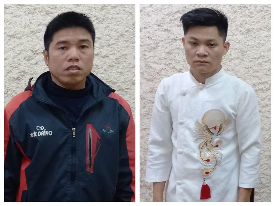 Đối tượng Phạm Ngọc Sang (áo trắng) và đối tượng Hồ Sỹ Hà