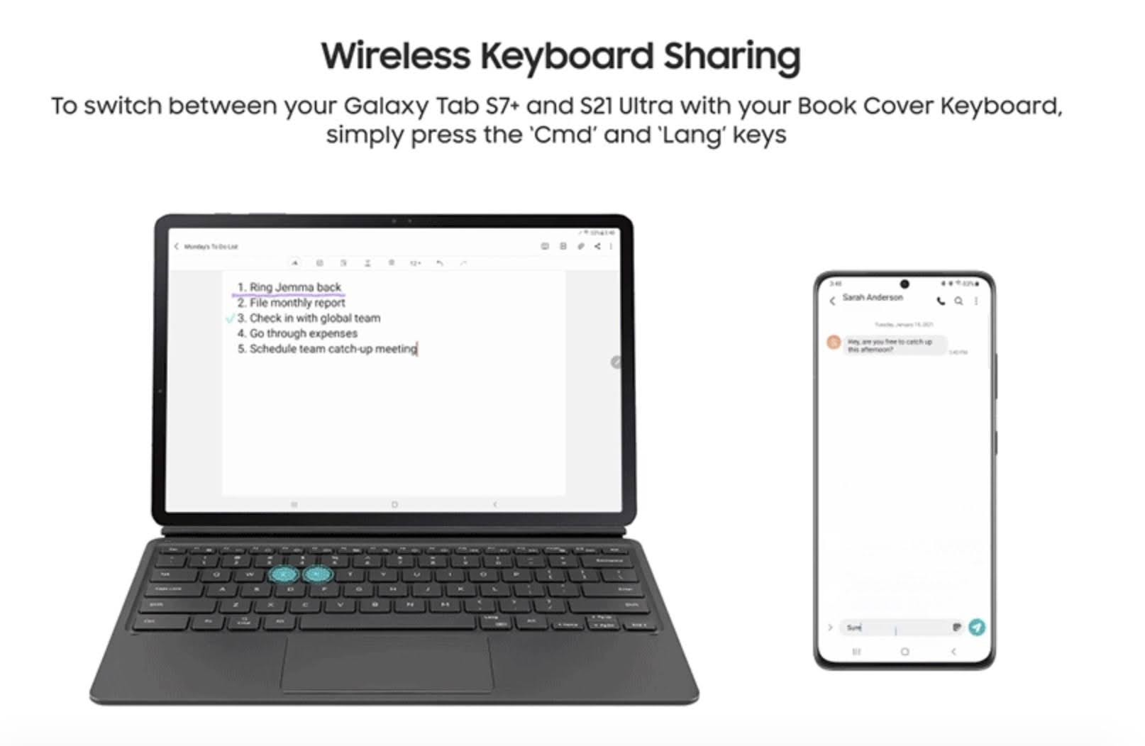 Samsung One UI 3.1 with Wireless Keyboard Sharing function.