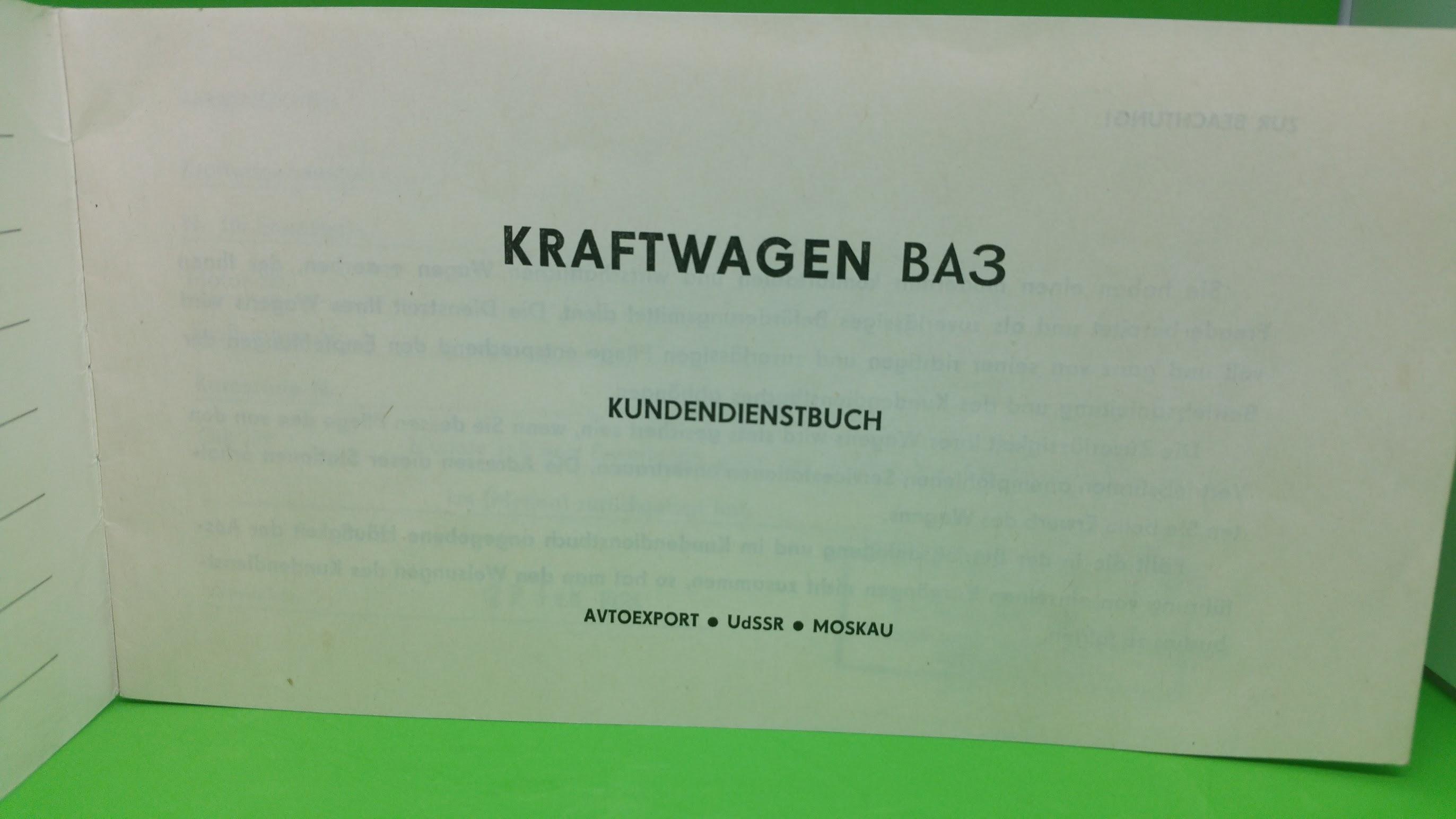 Kundendienstbuch - WAS - 1984