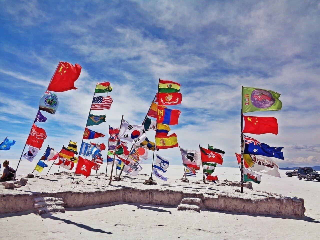 flags in salar de uyuni bolivia