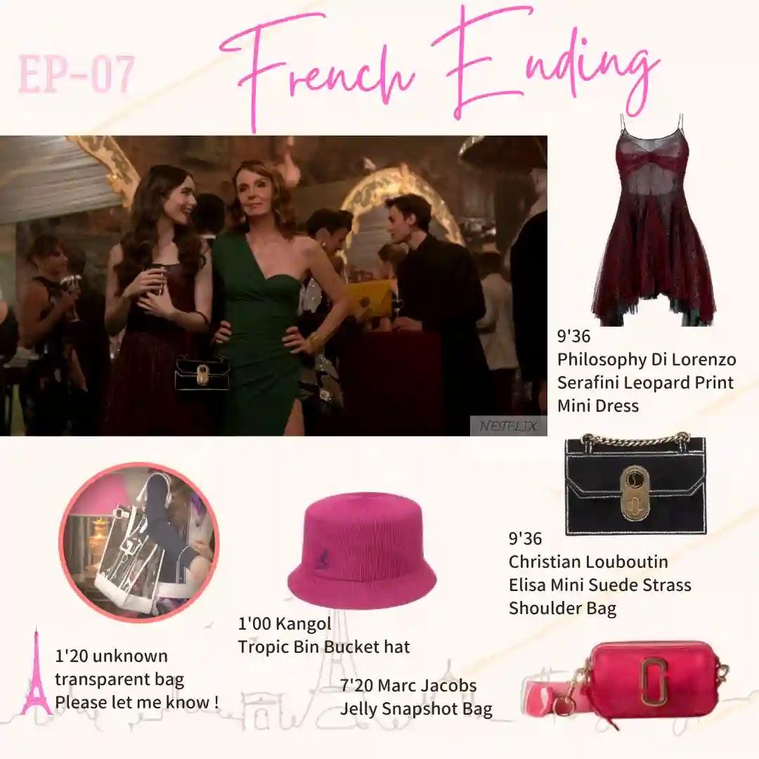 Emily in Paris Episode07chiristian Loubtin Elisa mini kangol bucket hat transparent bag