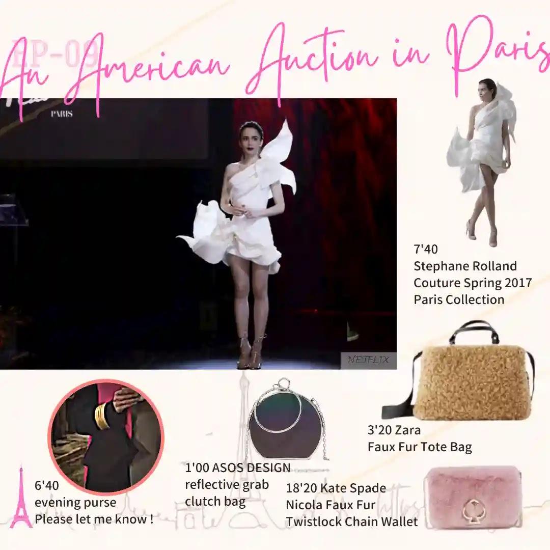 Emily in Paris Episode09 zara fake fur tote bag asos design clutch grab sphere bag
