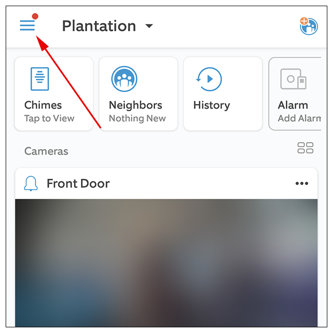 Tap the three lines icon button located at the top-left corner of the Dashboard in Ring app.