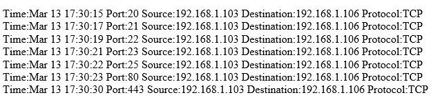 The following is part of a log file taken from the machine on the network with the IP address of 192.168.1.106