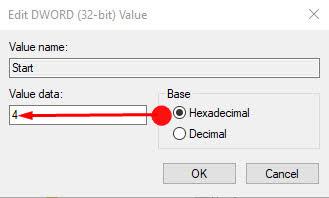 Modify Start DWORD (32-bit) Hexadecimal value to 4