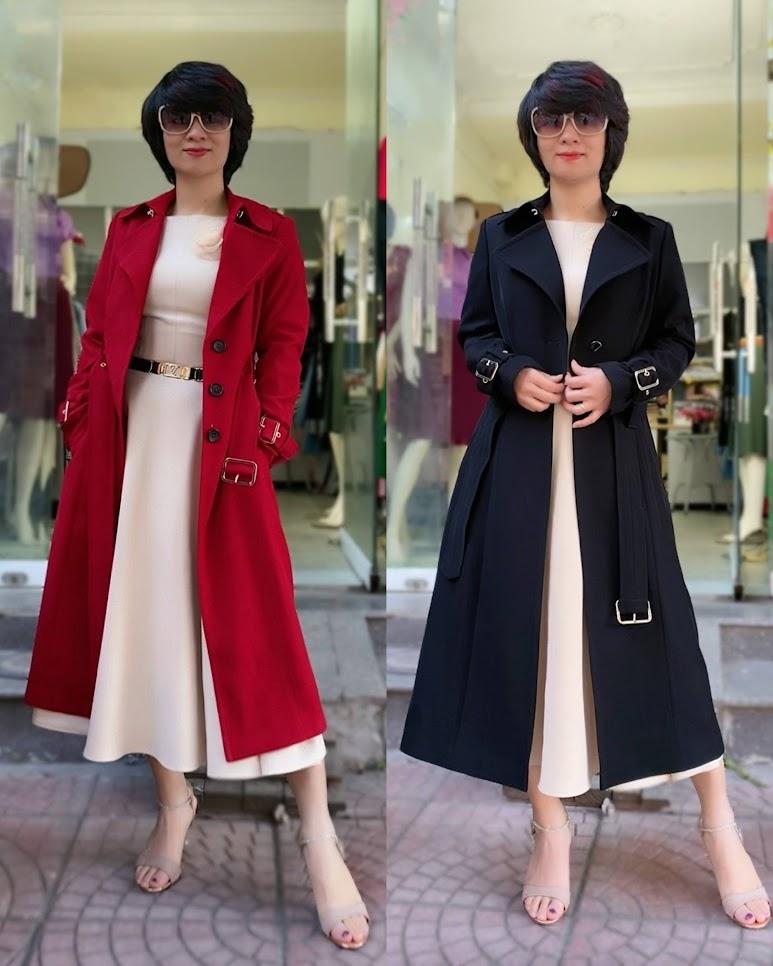 Áo khoác măng tô nữ dáng dài mùa thu đông V747 thời trang thủy hải phòng 1