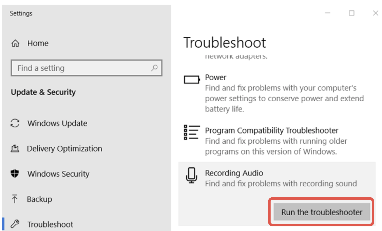 Run the troubleshooter for recording audio