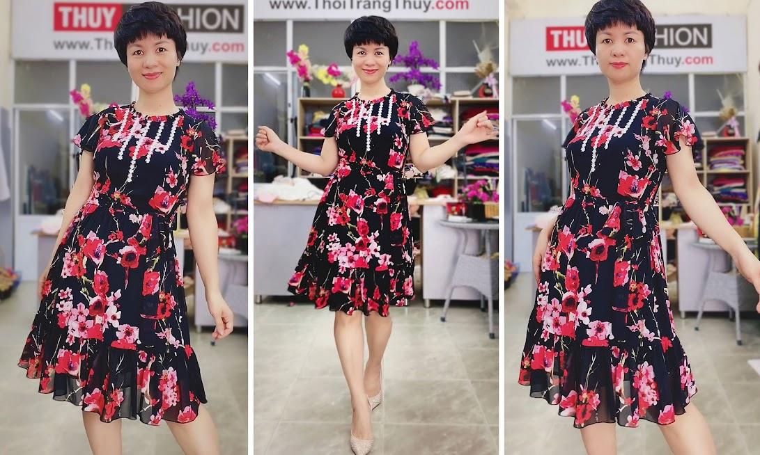 Váy xòe vải hoa màu đỏ đen mặc dạo phố thời trang thủy hải phòng