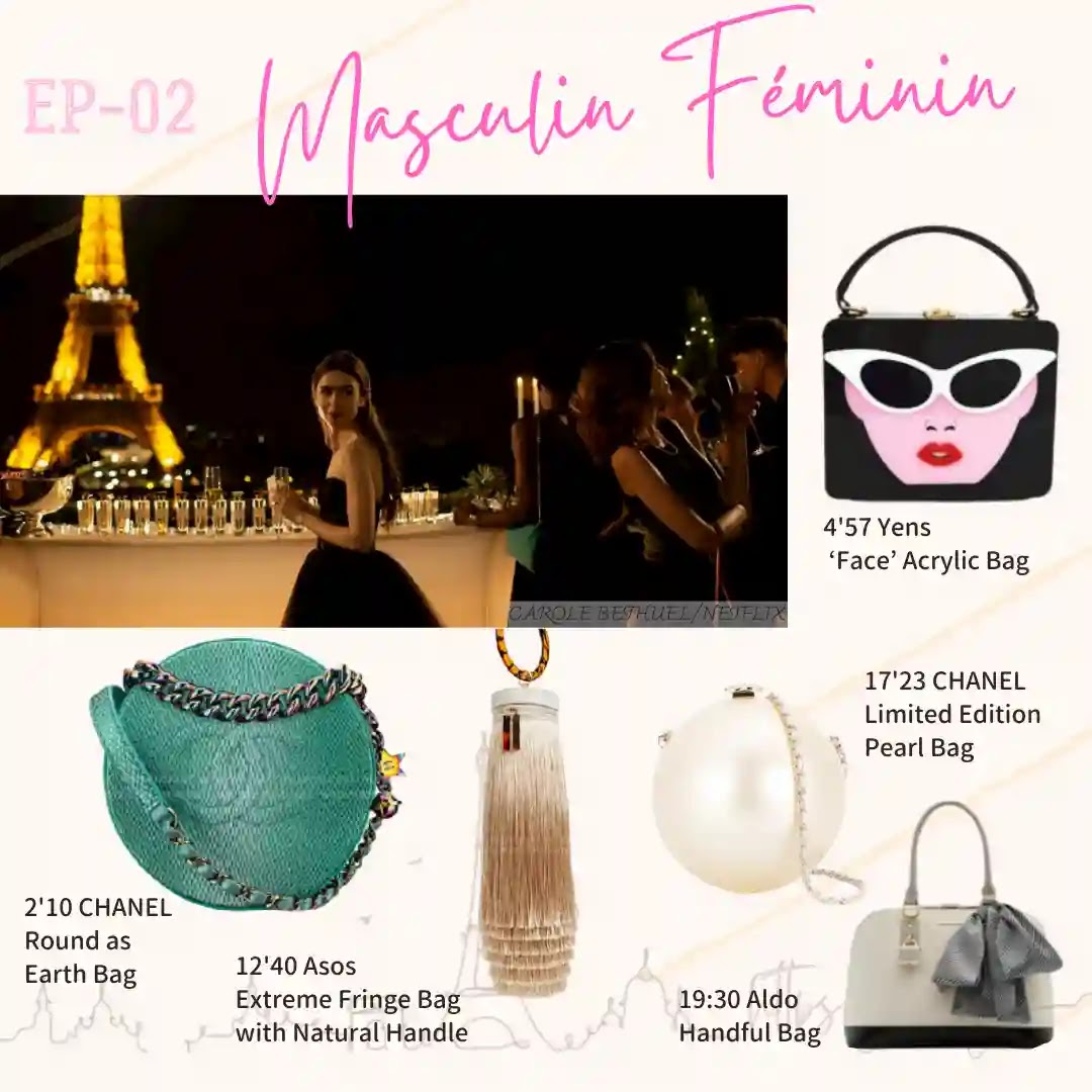 Emily in Paris Episode02 Chanel pearl bag Aldp handful bag round earh bag Chanel