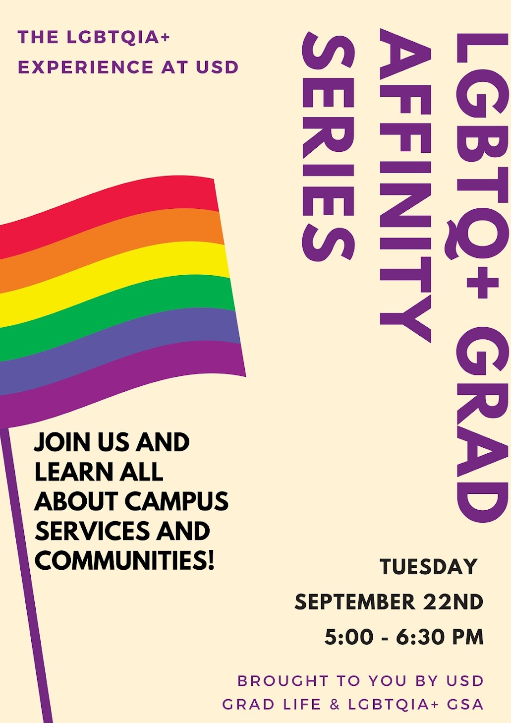 LGBTQIA+ Grad Affinity Group, Tuesday, September 22 at 5:00pm