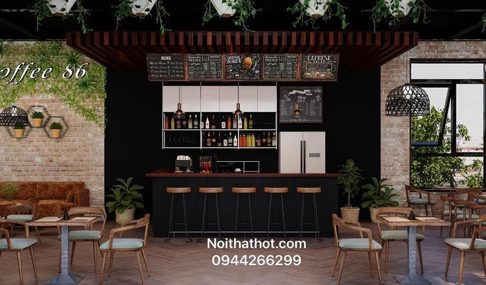Mẫu quầy pha chế quán cà phê đẹp