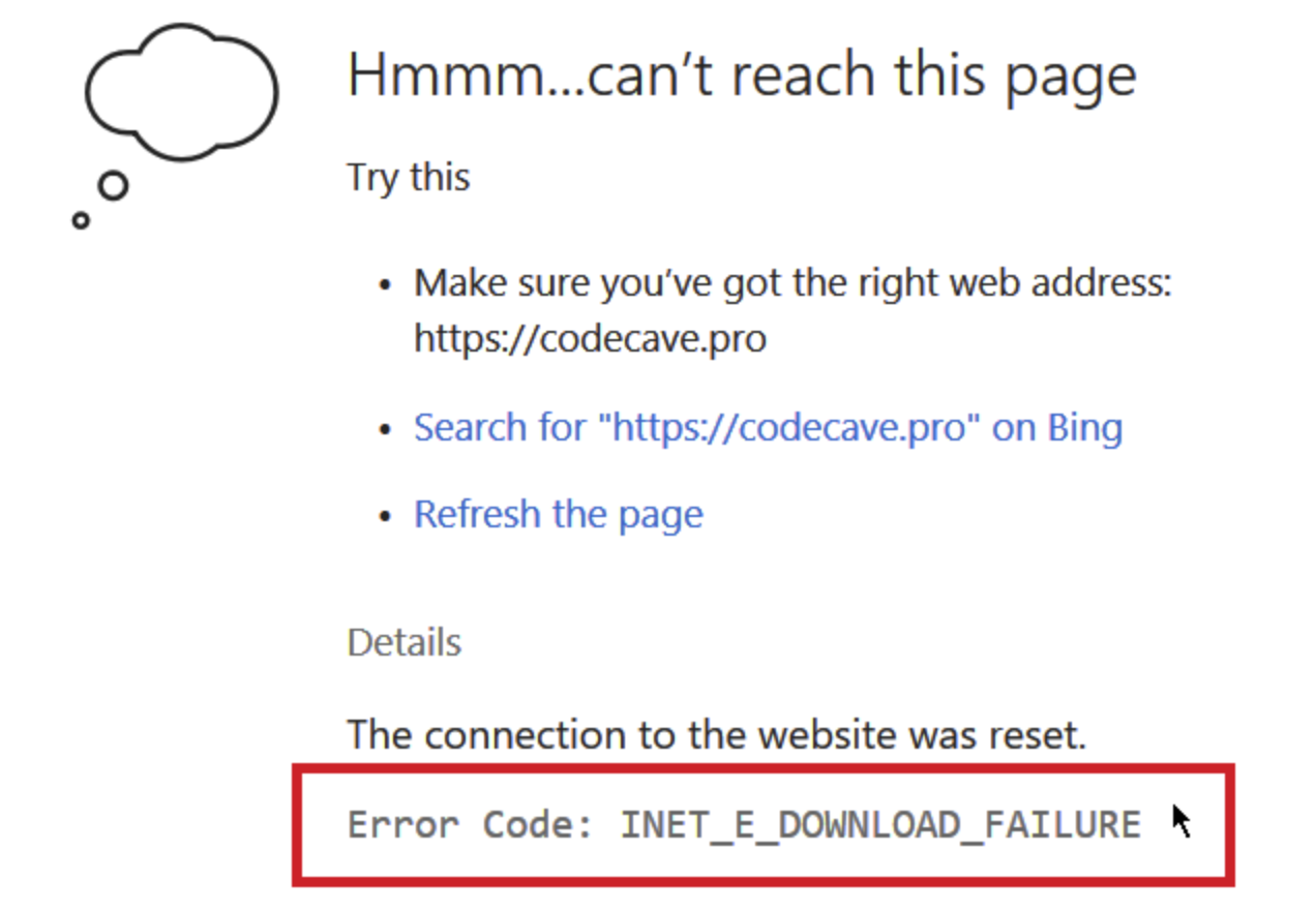 "[Solved] How to Fix ""Error Code: INET_E_DOWNLOAD_FAILIURE"" in Internet Explorer 11 and Microsoft Edge"