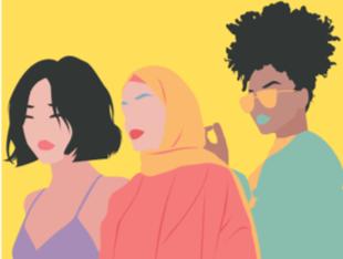 Grafik: drei Frauen unterschiedlicher Herkunft.
