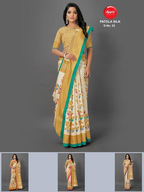 Apple Patola Silk Design No 33 Colour Chart Sarees Catalog Lowest Price