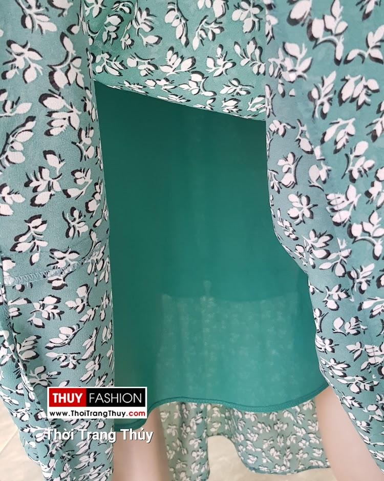 Váy đầm maxi vải chiffon hoa nhí màu xanh V710 thời trang thủy quảng ninh
