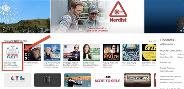 """Launching with a contest helped our first podcast, Perpetual Traffic, hit #1 in the Business Category. It's what got us to """"New and Noteworthy"""" and helped us stay there for 8 weeks."""
