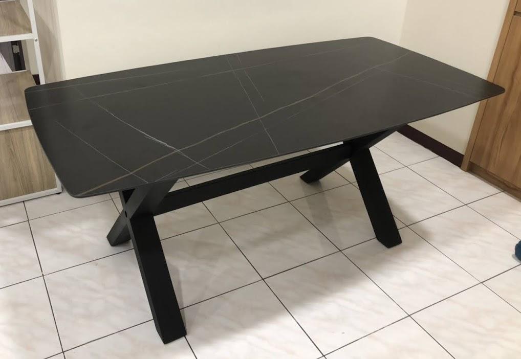 681-116 小半 岩板6尺餐桌 灰面/ 黑面