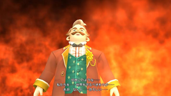 燃え盛る世界を背景に絶望するゲイル市長