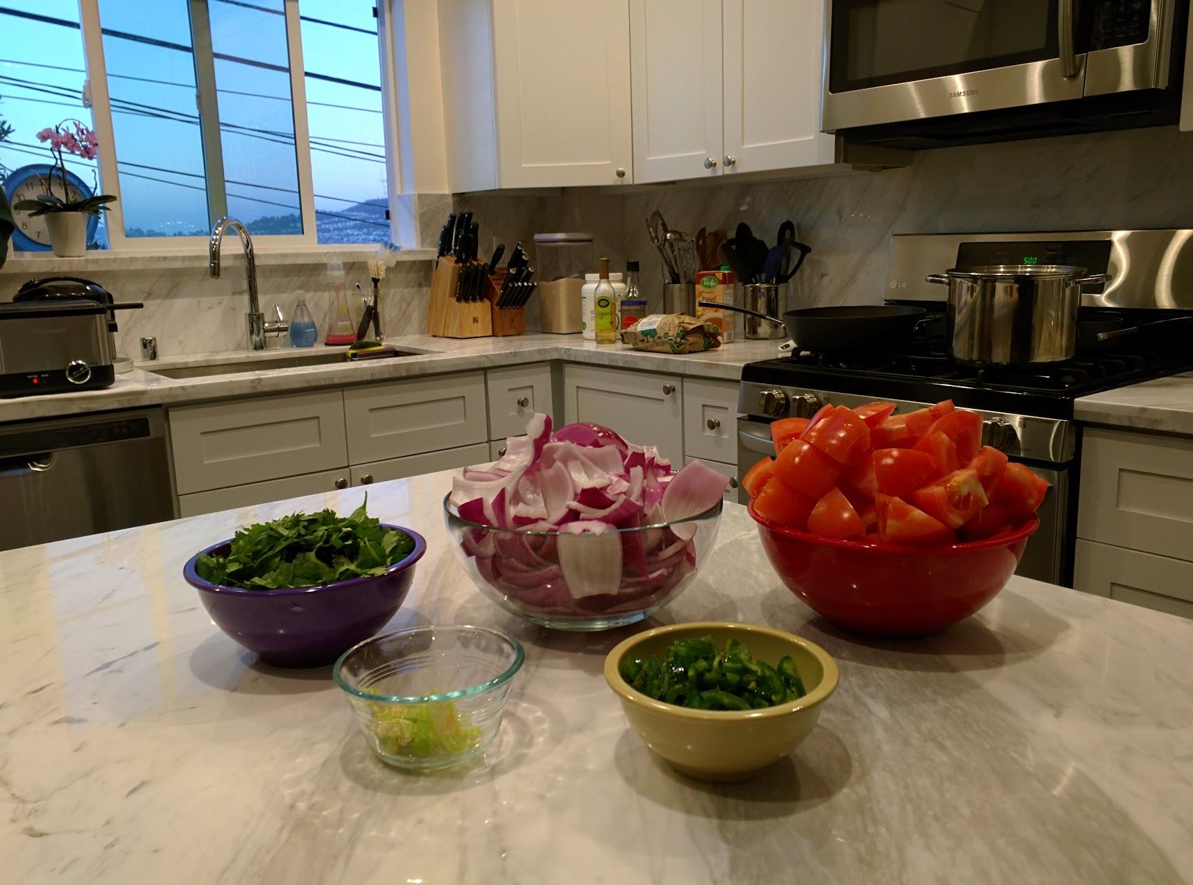 Veggies in bowls
