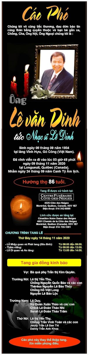 Nhạc sĩ Lê Dinh qua đời