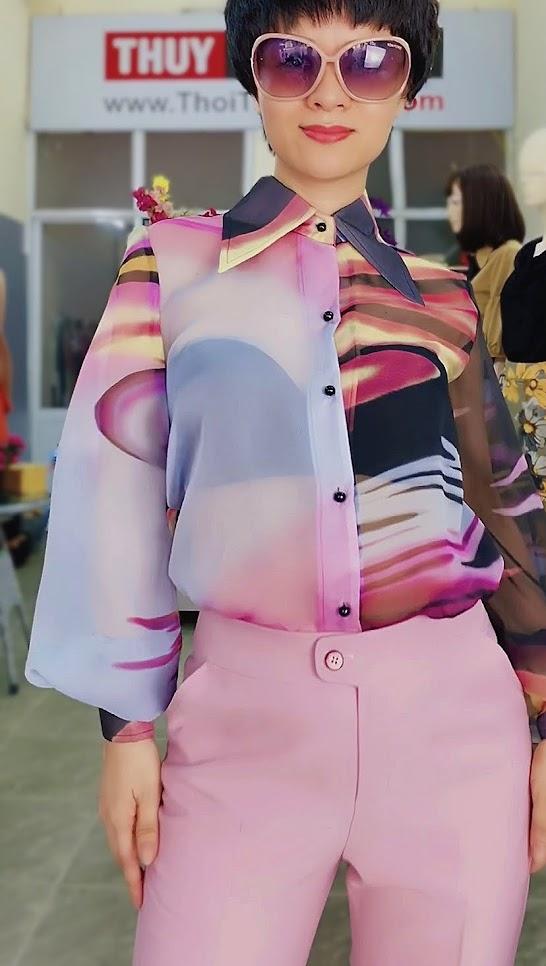 Áo sơ mi nữ mix đồ với quần baggy màu hồng V732 thời trang thủy sài gòn