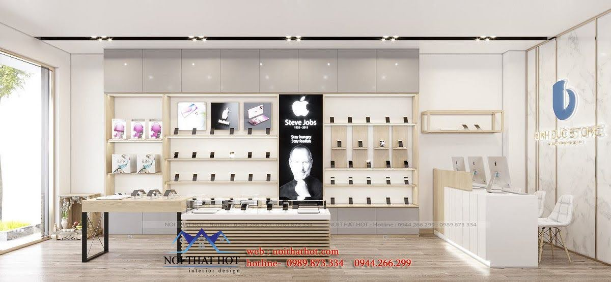 thiết kế shop điện thoại 28m2