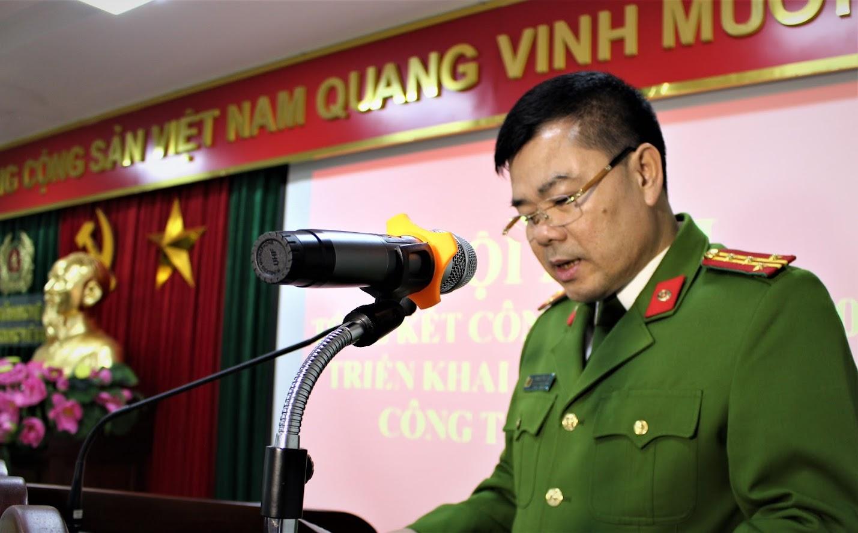 Đại tá Lương Thế Lộc, Trưởng phòng Cảnh sát QLHC về TTXH Công an Nghệ An phát biểu tại Hội nghị