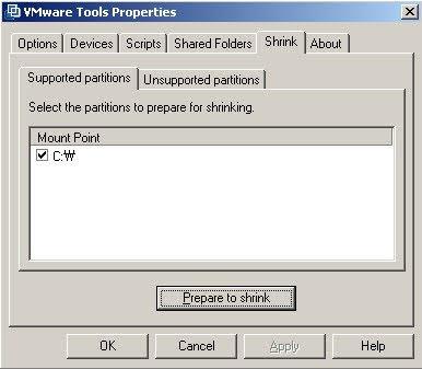 맥에서 VMware 이미지 용량 줄이기