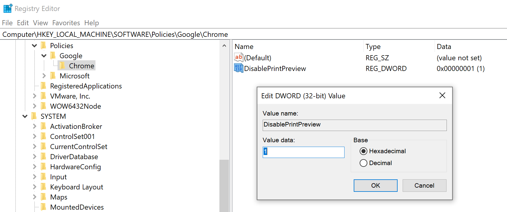 Add DisablePrintPreview in Computer\HKEY_LOCAL_MACHINE\SOFTWARE\Policies\Google\Chrome