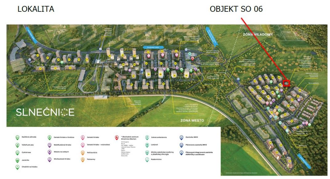 Situačný nákres lokality a umiestnenie budovy. Zdroj: MČ Petržalka, Slnečnice