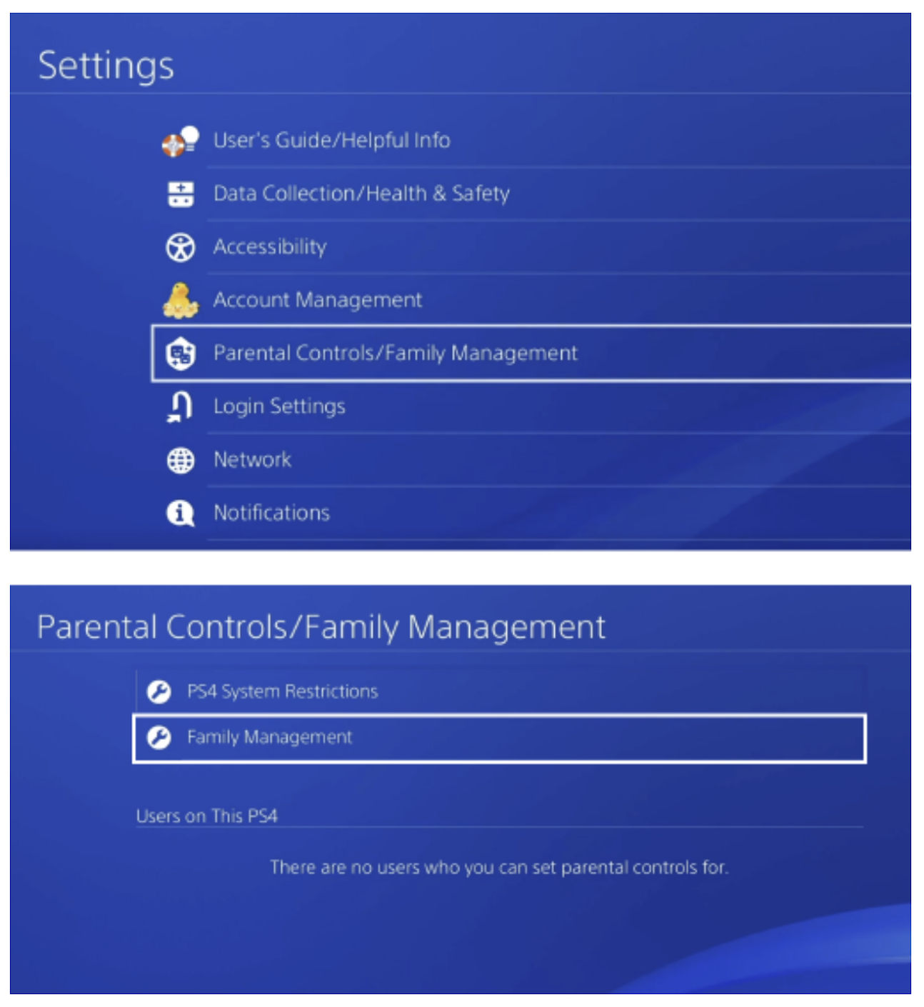 Enable Parental Controls/Family Management in PlayStation
